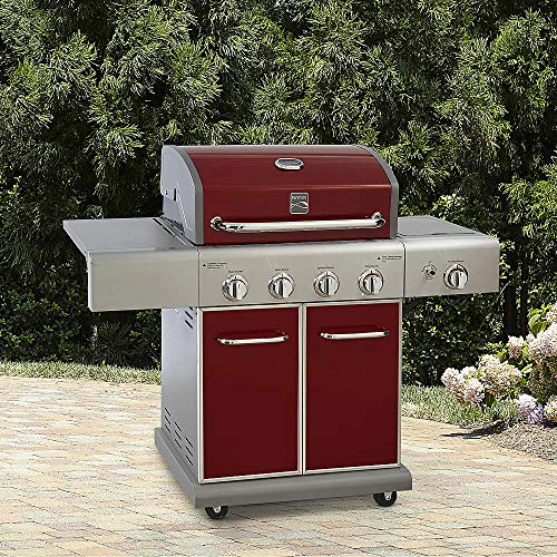 (Kenmore 4 Burner LP Gas Grill w/ Searing Side Burner Outdoor Living Cooking, Red)