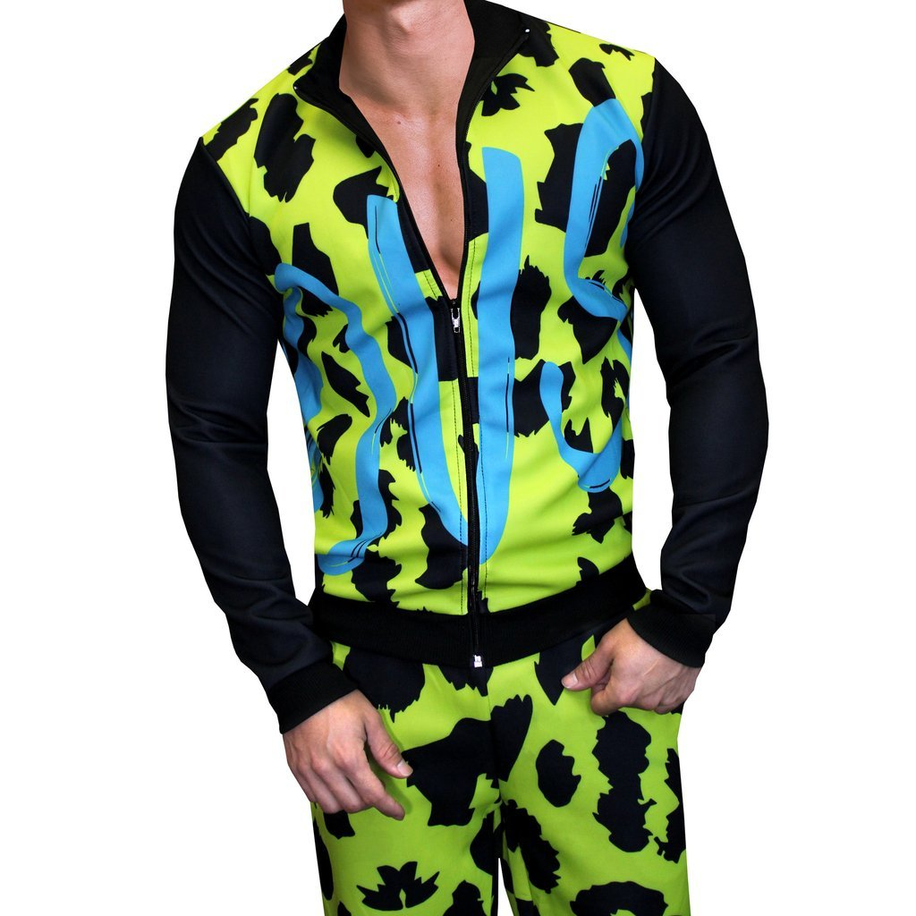 Danny Miami Men's Tracksuit - Jacket and Jogger Pants Set in Famous (Small) ,Famous Tracksuit Set