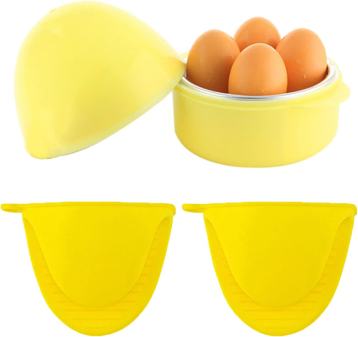 Coxeer Microwave Egg Cooker,Rapid Egg Cooker Microwave Boiler Egg For Hard or Soft Boiled 4 Eggs With 2PCS Aluminum Silicone Gloves(Yellow)