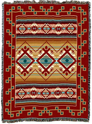 Pure Country Weavers - Las Cruces Southwest Blanket - Woven Tapestry Camp Throw with Fringe Cotton USA 72x54