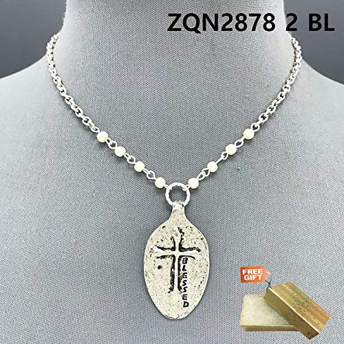 Silver Color Pearls Blessed Engraved Cross Embossed Spoon Shape Pendant Necklace Set For Women + Gold Cotton Filled Gift Box for Free