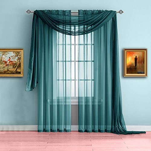 Luxury Discounts 3 Piece Sheer Voile Curtain Panel Drape Set Includes 2 Panels and 1 Scarf 84 Length, Teal