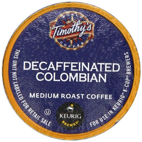 Timothy's Decaf Colombian K-Cup Counts for Keurig Brewers, 50 calculate