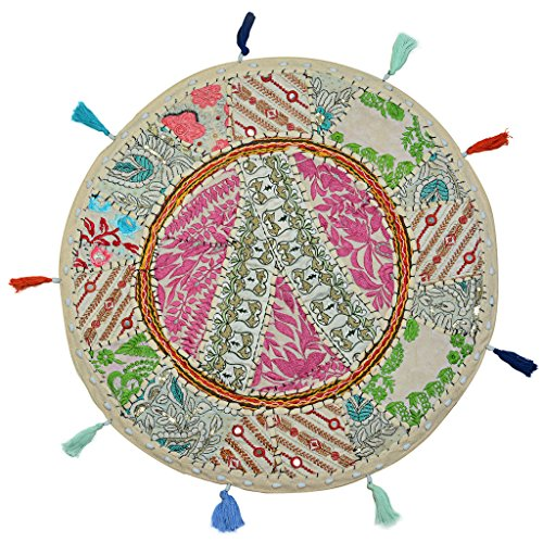 Stylo Culture Cotton Round Floor Cushion Cover Traditional Patchwork Throw Pillow Cover Embroidered Decor 18