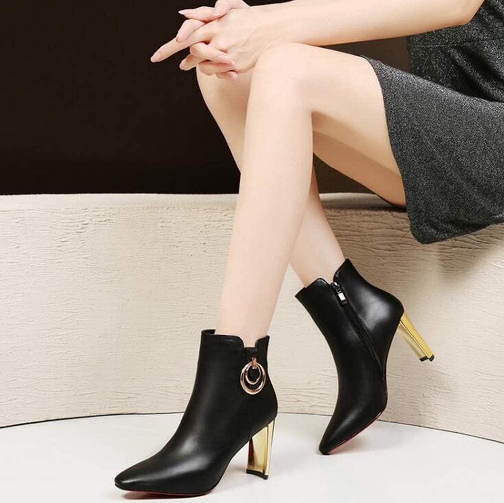 Ladies European and American Style Fashion Boots,Comfort Martins Boots Color : Black, Size : 36 Office /& Career Party /& Evening Fall//Winter Thick Heel Ankle Boots Hy Womens Booties