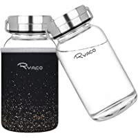 Ryaco Botella de Agua Cristal 800 ML, Boca Ancha Botella de Agua Reutilizable, Sin BPA Antideslizante Protección…
