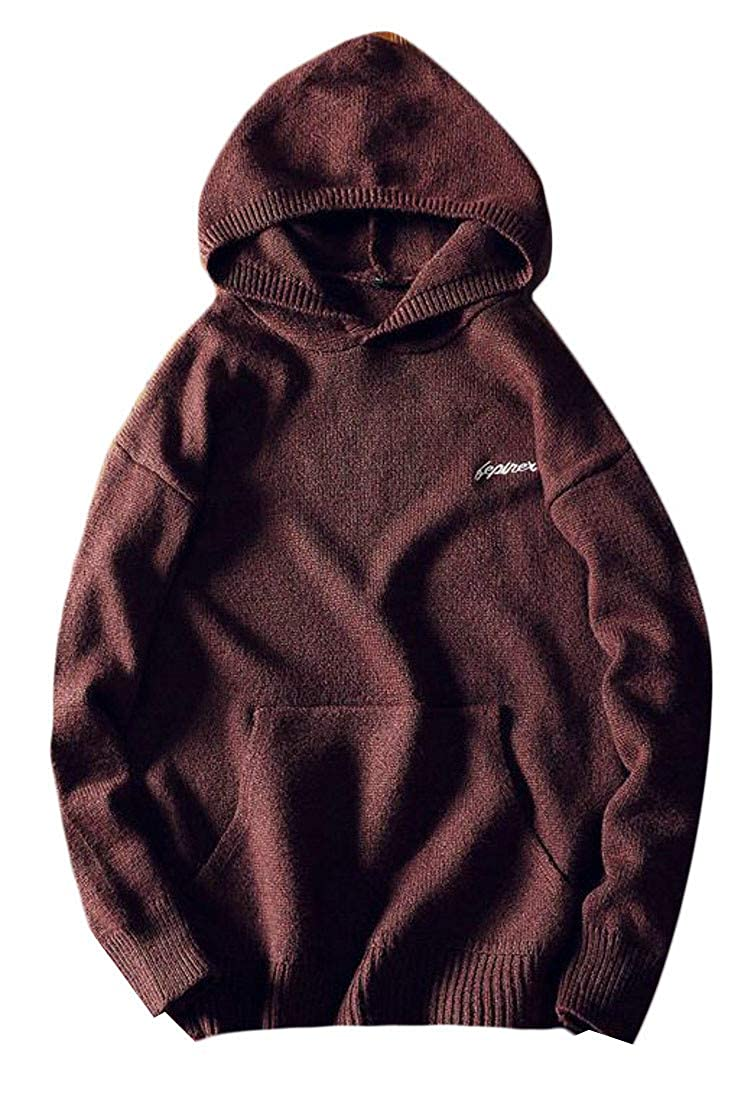 Macondoo Mens Knitted Pullover Hooded Sport Embroideried Winter Sweater