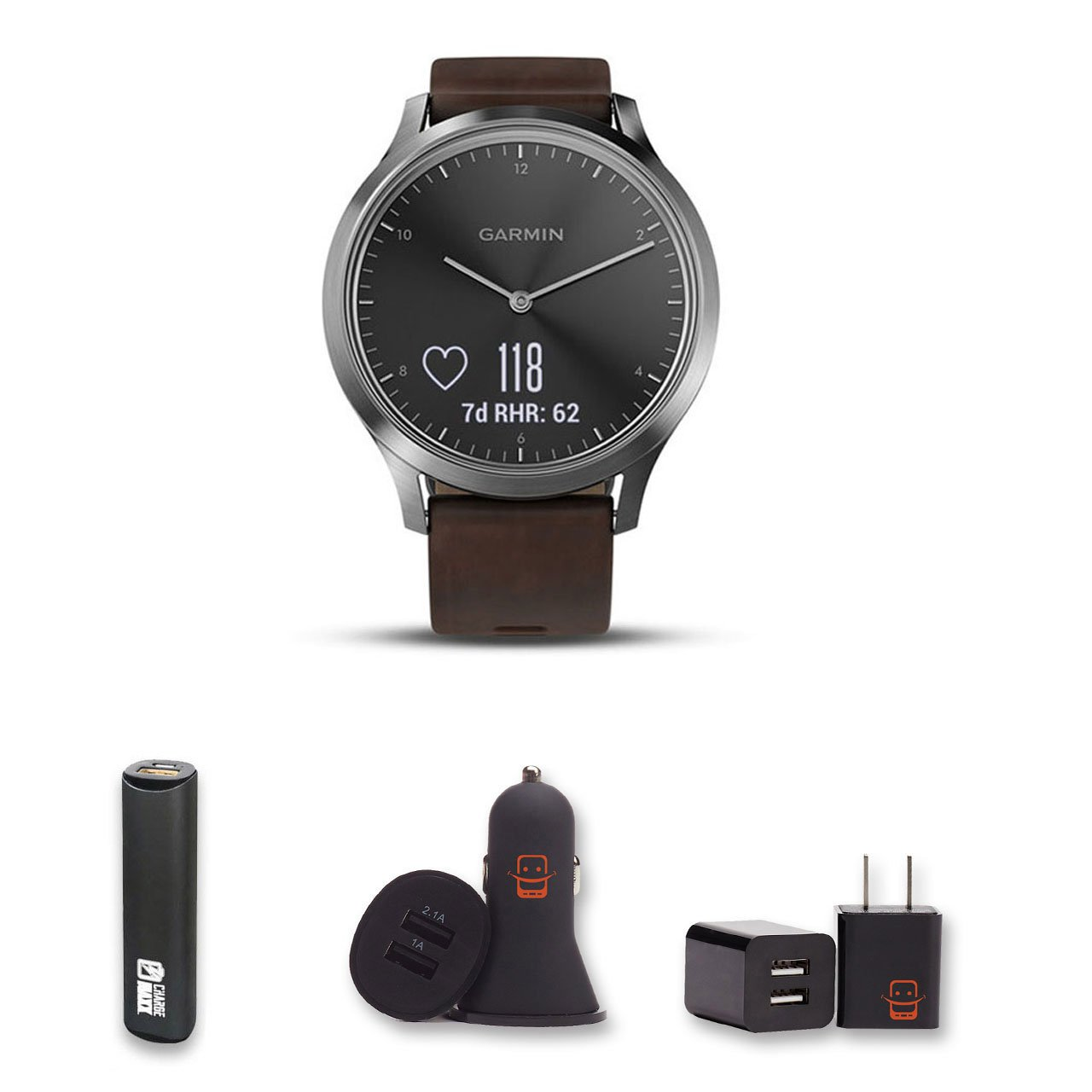 Garmin Vivomove HR Premium (Black/Silver with Leather Band) Large Hybrid Smartwatch Bundle with PowerBank + USB Car Charger + USB Wall Charger (4 Items)