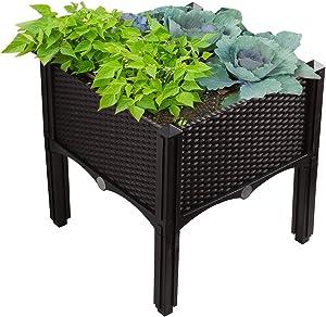 Modern Home Raised Planter Kit - Stackable Modular Flower/Garden Bed Kit (Brown)