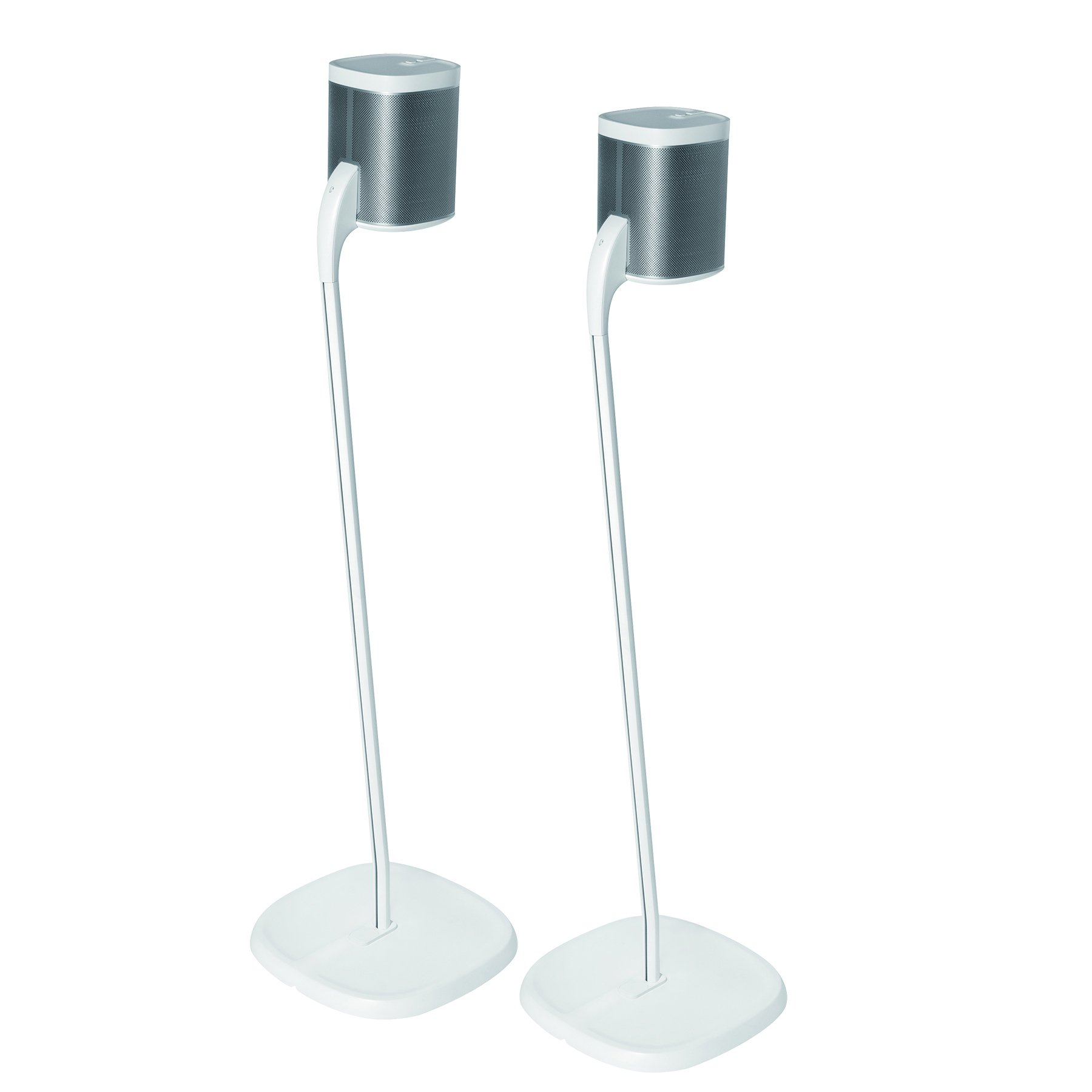 GT STUDIO Speaker Stand for SONOS One, Play 1 or Play 3, Premium Surround Sound, Heavy Base, Complete Cord Concealment - (Pair, White)
