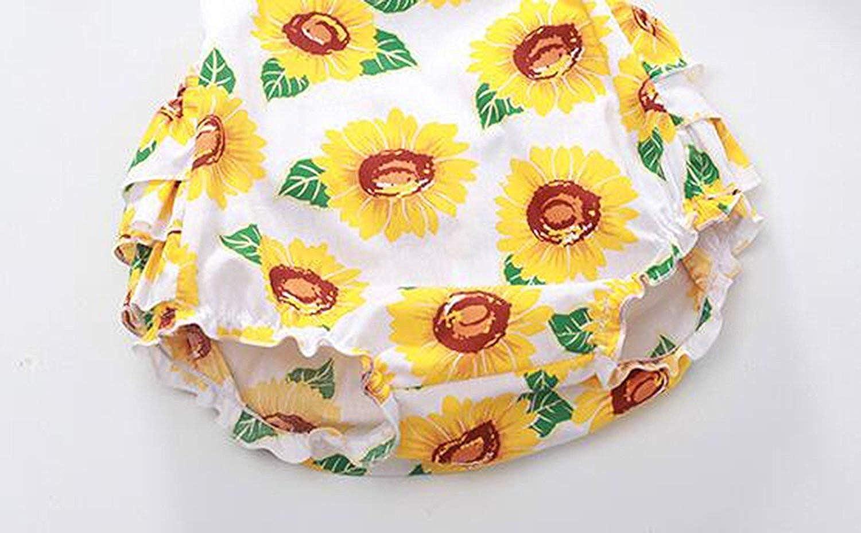 80de0cbe93d Amazon.com  Infant Baby Girls  Sunflower Print Sleeveless Halter Ruffled  Romper Outfits with Headband  Clothing