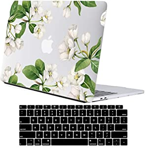 Lapac MacBook Air 13 inch Case 2020 2019 2018 A2337 M1 A2179 A1932, Flowers Hard Shell Case with Keyboard Cover, Floral New Version MacBook Air 13 inch Case (White Apple Flower(A2337 M1 A2179 A1932))