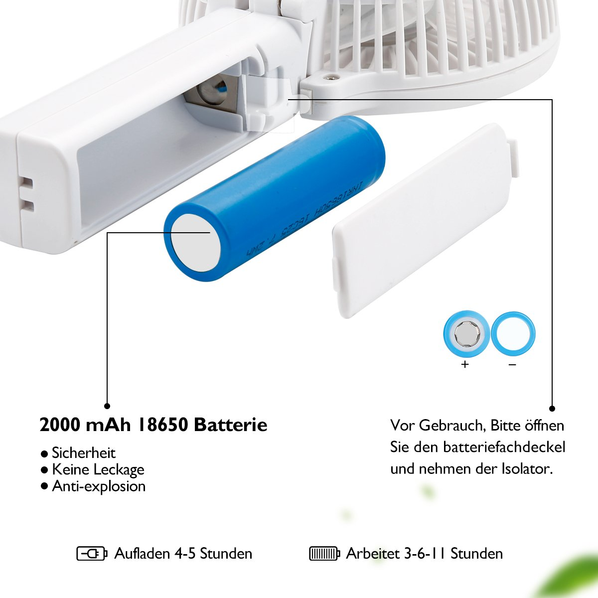 3 Speeds Desk Fan for Home Portable USB Mini Travel Fan with 2000mAh Rechargeable Battery iEGrow Handheld Fan Office and Travel-Blue