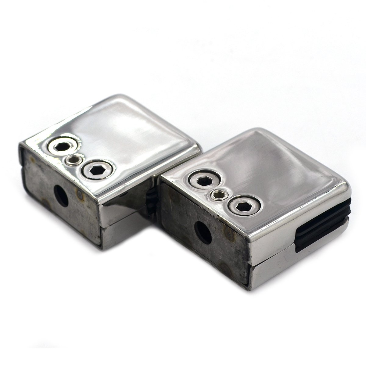 2X Stainless Steel Glass Clamp Solid Glass Shelf Clamp Holder Bracket Clip Support Fits for 6-8 mm Thick Glass Wall Mount Home Bathroom