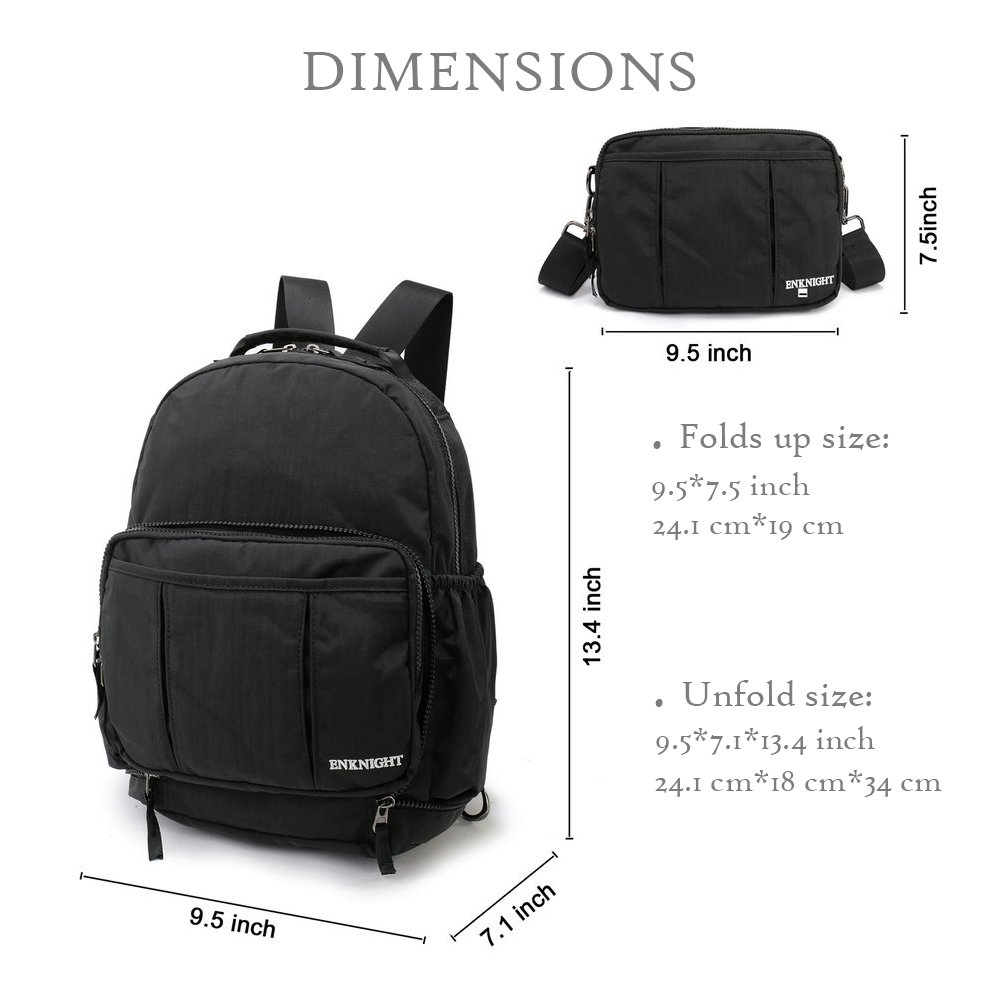 2a5dd8ac79 ENKNIGHT Handy Packable Backpack Rucksack Small Day Bag women`s Cross body Bag  for Travel (Black)  Amazon.co.uk  Shoes   Bags