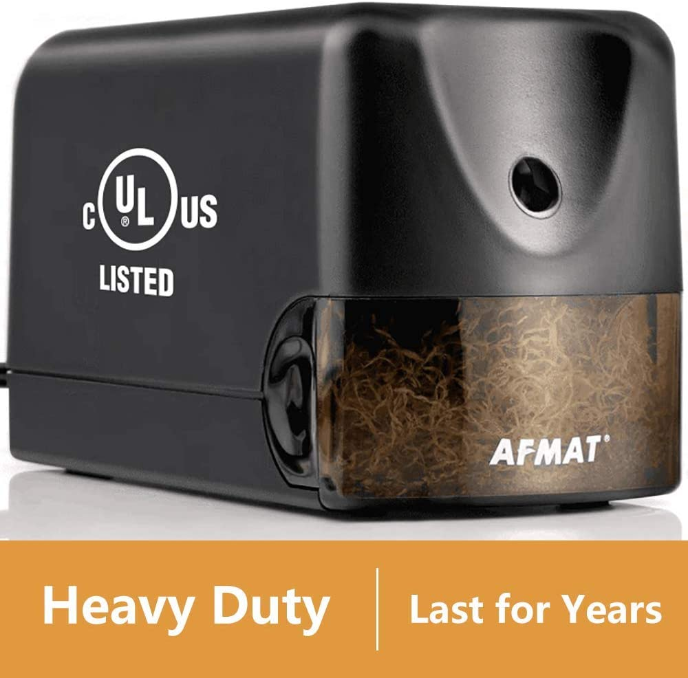 AFMAT Electric Pencil Sharpener Heavy Duty, Classroom Pencil Sharpener for 6.5-8mm No.2/Colored Pencils, UL Listed Professional Pencil Sharpener w/Stronger Helical Blade, Best School Pencil Sharpener