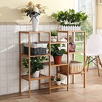 Finnhomy natural bamboo shelf plant stand for Plant shelf plans