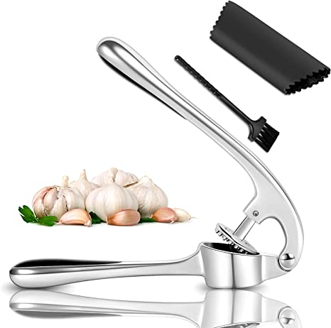Heavy Duty Zinc Alloy Garlic Mincer with Ergonomic Handle Tube Garlic Press Set
