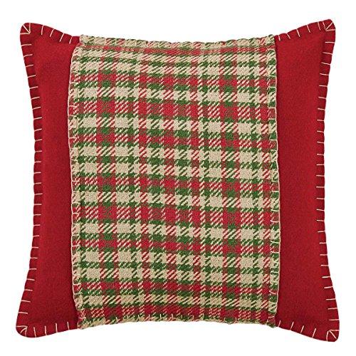 """Christmas Holiday Pillows & Throws - Claren Red Applique 16"""" x 16"""" Pillow"""