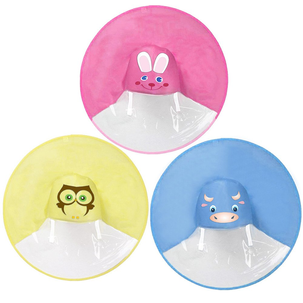 Headwear Portable Waterproof Cloak Light-Weight Foldable Rain Coat Cover Hat Cap for 2-8 Years Old Kids ALIKEEY Cute Cartoon Raincoat UFO Children Umbrella Hat Magical Hands Free Raincoat