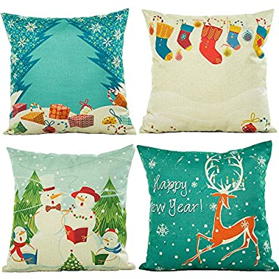 HOSL PSD16 Merry Christmas Series Cotton Linen Square Decorative Sofa Car Throw Pillow Case Cushion Cover (Set of 4)