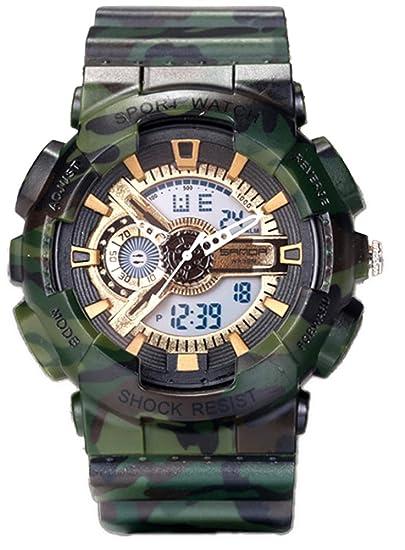 Reloj deportivo unisex sumergible hasta 50 m para exteriores, resistente a golpes, verde y dorado: Amazon.es: Relojes