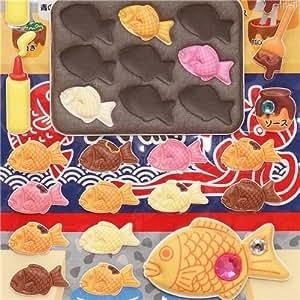 Pegatinas esponjosas pastel pescado Taiyaki y bolas calamar