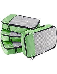 AmazonBasics 4-Piece Packing Cube Set - Medium, Green