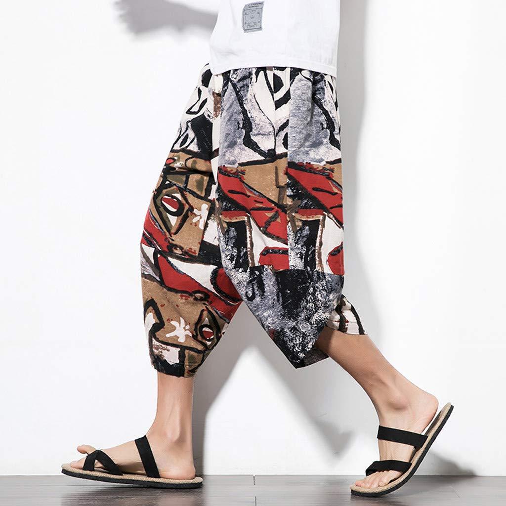 Mens Wide Crotch Harem Pants,Suma-ma Male Ethnic Style Printed Casual Trousers Summer Beach Elastic Waist Shorts