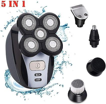 Maquinilla de afeitar eléctrica para hombres, 5 en 1 IPX7 impermeable 5D Rotary Shaver Trimmer Grooming Kit,afeitadora recargable USB con cabeza calva con 5 cabezales flotantes,uso dual húmedo y seco: Amazon.es: Belleza
