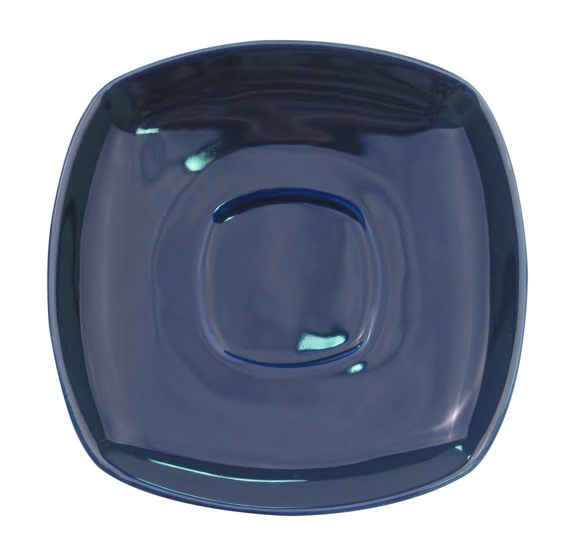 CAC China KC-2-CBU Color Arts 6-Inch Cobalt Blue Stoneware Square Saucer, Box of 36