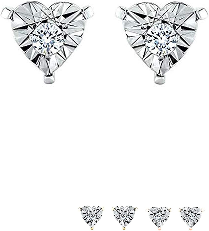 IGI CERTIFIED 10k Gold 1/10ct TDW Heart Shape Miracle Plate Diamond Stud Earrings(I-J, I1-I2)