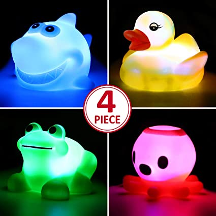 6 Packs Baby Bath Toys Flashing Color Changing Light in Water Floating Rubber Water Toys for Kids Bathtub Swimming Pool Bath Toys for 1 Year Old Boys Girls Light Up Bath Toys Set for Toddlers