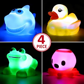 Mini Duck Baby Bath Toy Auto Color Changing LED Lamp Light Vinyl Toy Kids Gifts