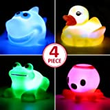 Bath Toy,Can Flashing Colourful Light(4 Pack),Floating Bath Toy, Light Up Baby Shower Bathtime Bathtub Toy For Bathroom Kid Boys Girl Toddler Child,Rubber Ducks Octopus Frog Shark