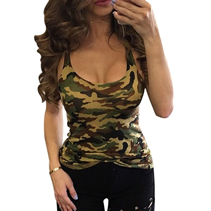 7d5bedfe6ff00 Amazon.com: FUNOC Women's Yoga Sports Tank-Top Camouflage Print Workout  Fashion Top: Clothing