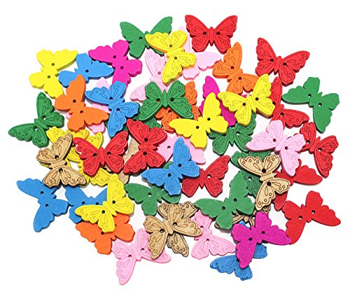 Natural Wood Colorful Little Butterfly Shaped Wooden Crafting Sewing Scarpbooking DIY Knitting Handcraft Buttons 50Pcs