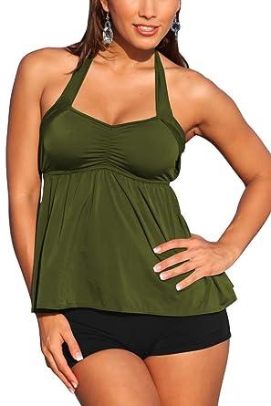 488155eaaf Amazon.com: Fixmatti Women Two Piece Halter Tankini Top and Boyshorts  Swimsuits: Clothing