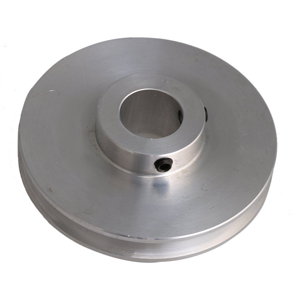 CNBTR 5.8x1.6x0.8CM Silver Aluminum Alloy 0.8CM Fixed Bore Single Groove V-Shape Pulley for 0.3-0.5CM PU Round Belt Drilling Machine Accessory yqltd