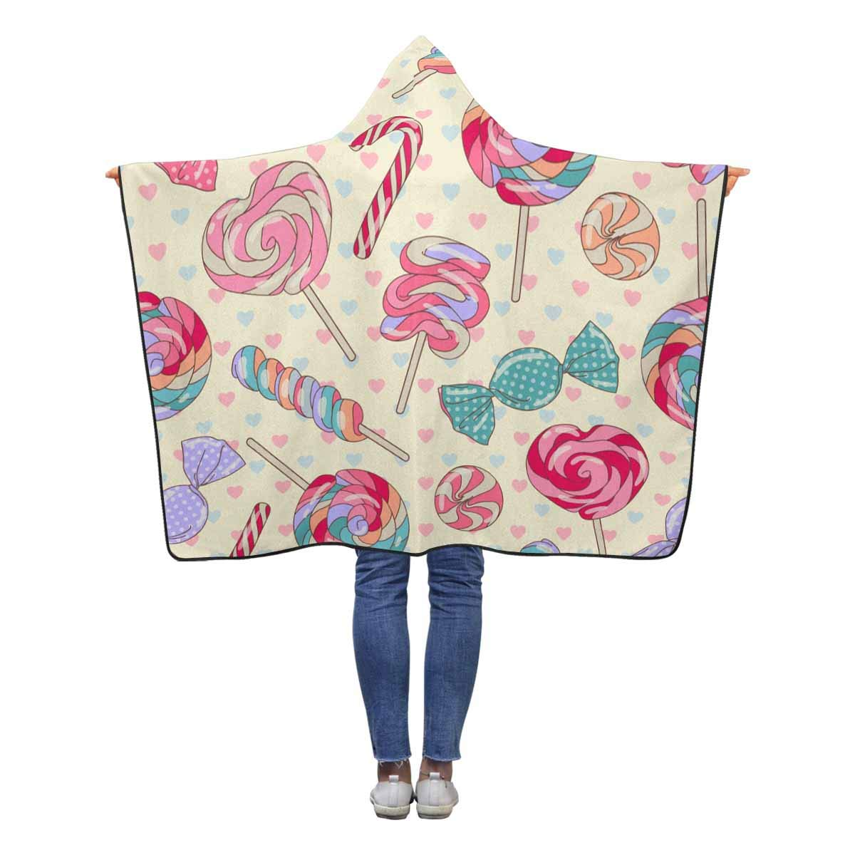 InterestPrint Colorful Sweet Lollipop Candy Throw Blanket 50 x 40 inches Soft Lightweight Blankets with Hood by InterestPrint