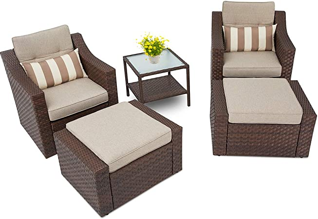 Light Brown NO CUSHIONS Rattan Style Garden Furniture Armchair USED