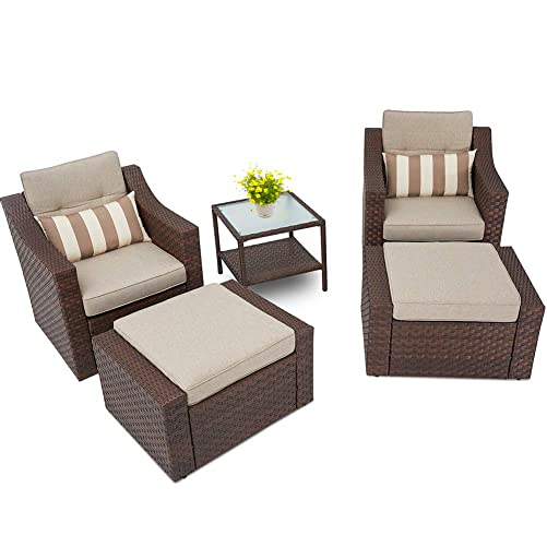 SOLAURA Patio Sofa Sets 5-Piece Outdoor Furniture Set Brown Wicker Lounge Chair Ottoman with Neutral Beige Olefin Fiber Cushions Glass Coffee Side Table