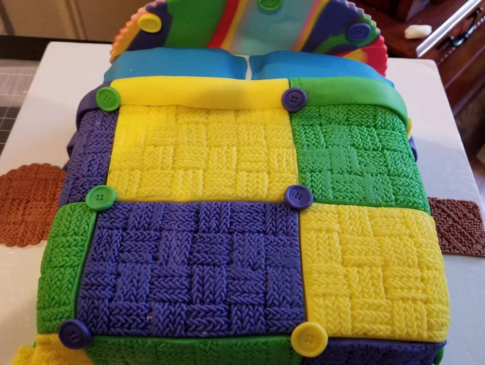 Wocuz Set of 4 Fondant Impression Mat Knitting Sweater & Crochet Texture Embossed Design Silicone Cake Cupcake Decorating Supplies molds by Wocuz (Image #3)