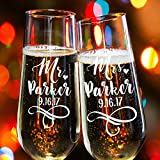 Lily's Atelier Set of 2, Hand Engraved Mr. Mrs. Last Name & Date Custom Wedding Toast Champagne Flute Set, Wedding Toasting Glasses – Etched Flutes for Bride & Groom Customized Wedding Gift #EH3
