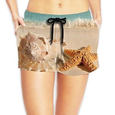Tvsuh-u Seashells Starfish On The Beach Women's Womens Beach Short Board Shorts Quick Dry Swimming Trunks