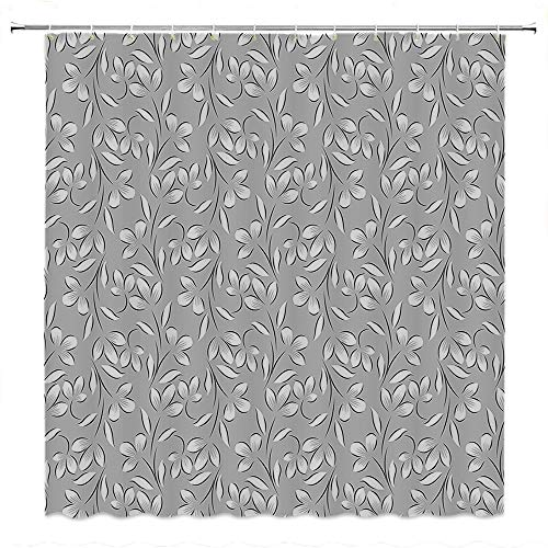 SATVSHOP Creative Home Ideas Textured Shower Curtain with Beaded Rings-Floral Ornaments Springtime Theme Abstract Paisley Antique Vintage Style Illustration Grey White.W72 x L96 inch