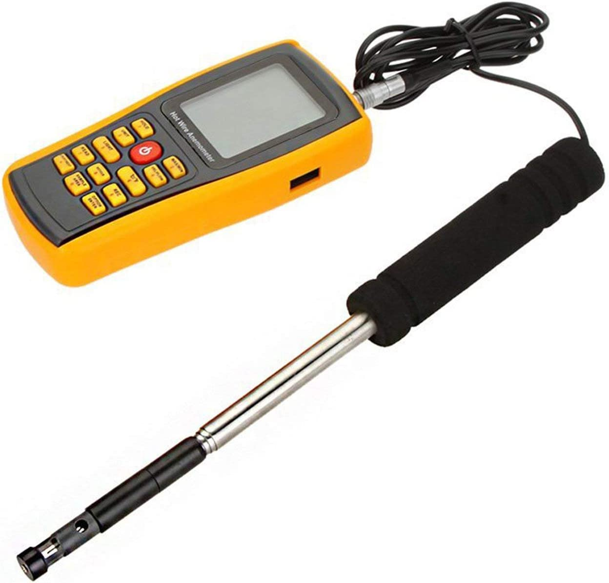 Barry Century GM8903 Digital Anemometer,Hot Wire Wind Speed//Air Flow//Temperature Meter Tester Measuring 0~30m//s with USB Interface /& Slim Sensor