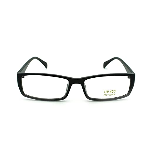 c497f9476f Unisex Snug Fit Small Classic Narrow Rectangular Clear Lens Optical Eye  Glasses Black