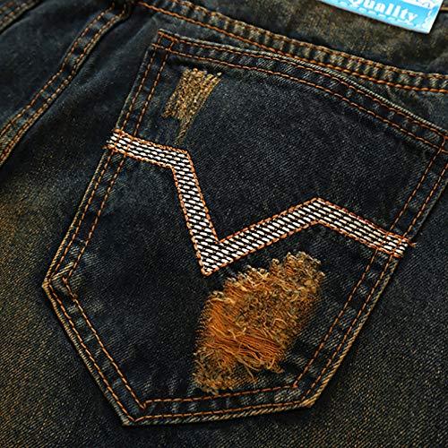 Imprimé Effiloché Vintage Kaister Base Zipper Denim Wash Trou Folds Jeans Bleu Hommes Pantalon De qF544RnC6