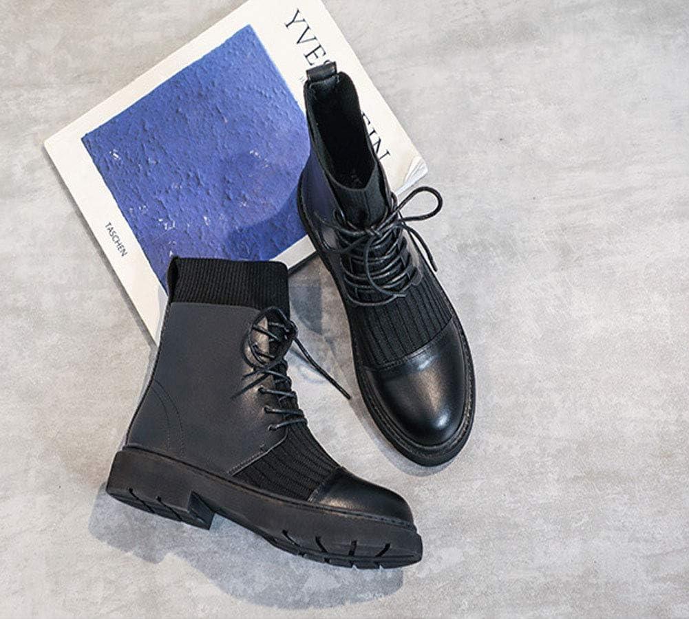 Schuhe Damen Dicke Ferse Stiefeletten High Heel Dicker Boden Martin Stiefel Schnürstiefel Für Damen Schwarz